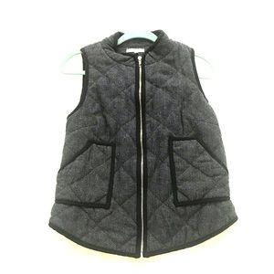 Charcoal herringbone vest with black trim